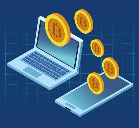 Tecnologia di criptovaluta bitcoin vettore