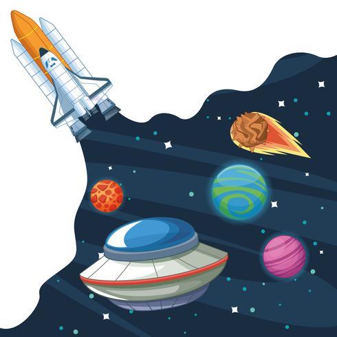 Nave spaziale nella galassia della Via Lattea vettore