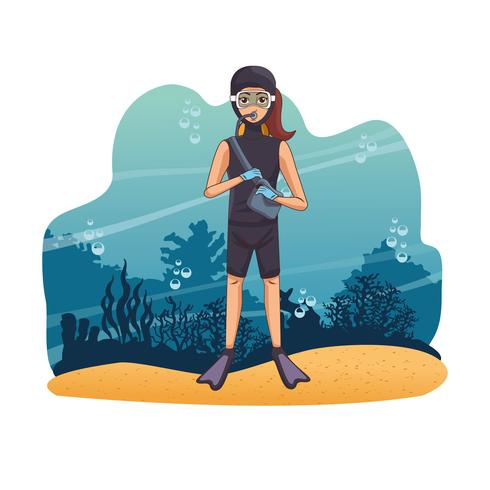 Immersioni subacquee in mare vettore