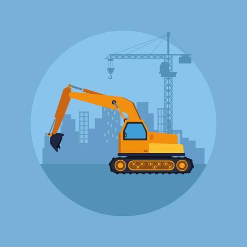 cartone animato di veicolo di costruzione vettore