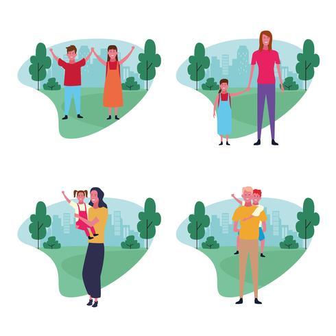 set di avatar del gruppo familiare vettore