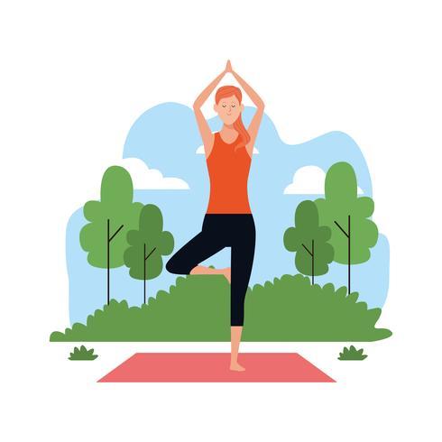 donna nello yoga pone vettore