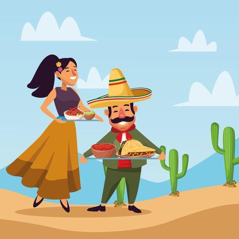 Messicani che celebrano nel deserto vettore