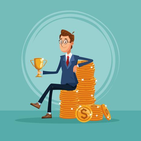 Cartone animato di banchiere uomo d'affari vettore