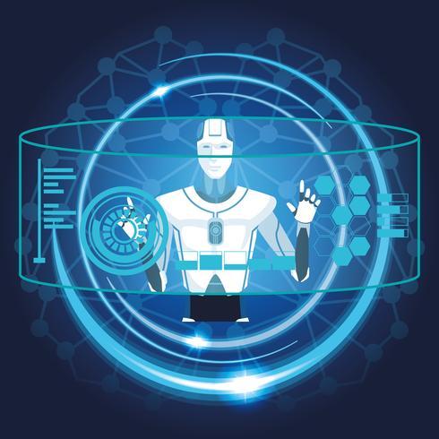 robot con intelligenza artificiale vettore