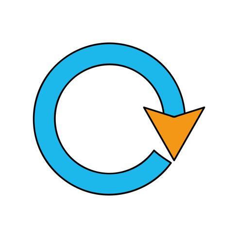 progresso del caricamento del segno del cerchio della freccia di colore vettore