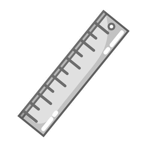 progettazione del righello in scala di grigi per l'educazione degli strumenti scolastici vettore