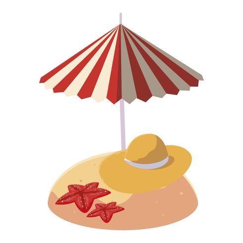 spiaggia di sabbia estiva con ombrellone e cappello di paglia vettore