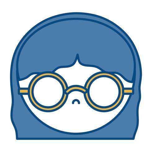 ragazza con icona occhiali vettore