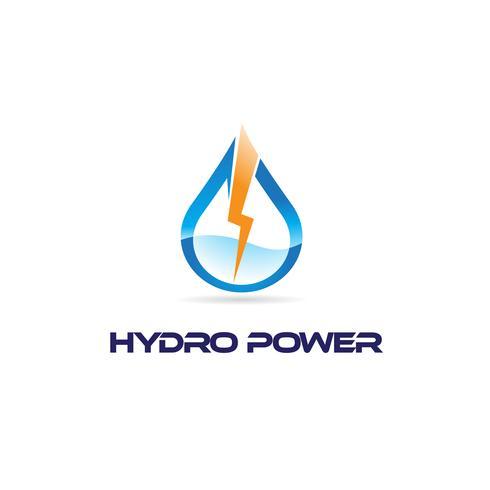 Goccia d'acqua con logo Bolt di illuminazione vettore