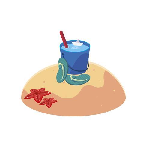 spiaggia di sabbia estiva con scena di infradito vettore