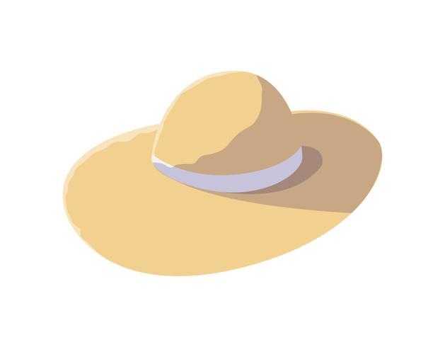 icona accessorio cappello di paglia estate vettore