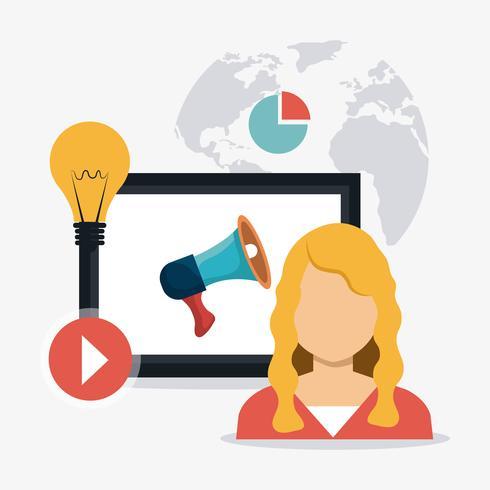 Professionista del marketing digitale e sociale vettore