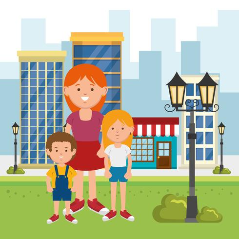 famiglia in un parco cittadino vettore