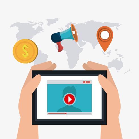 Icone di marketing digitale e social media vettore