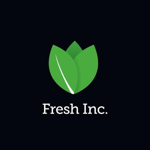 Logo di verdure a foglia verde fresca vettore