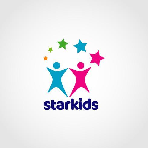 Logo colorato Star Kids vettore