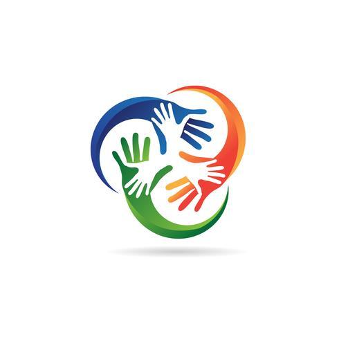Logo sociale colorato carità mano vettore
