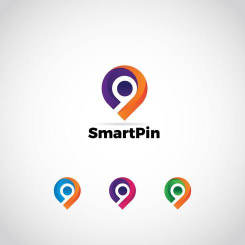 Logo Pin colorato vettore