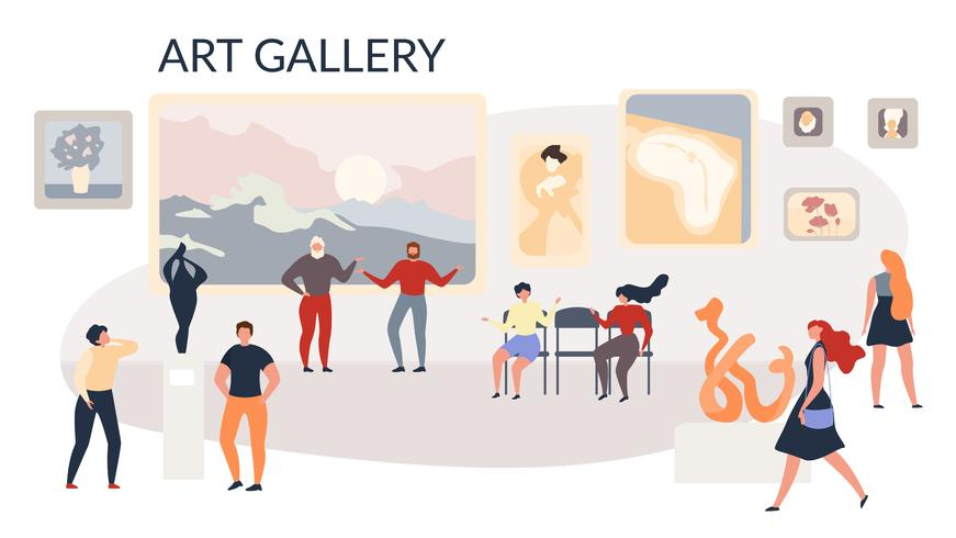 Galleria d'arte Mostra dipinti e sculture vettore