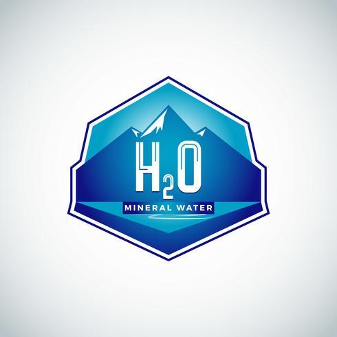 Etichetta acqua con montagne vettore