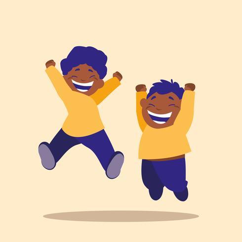 bambini che saltano personaggio avatar vettore