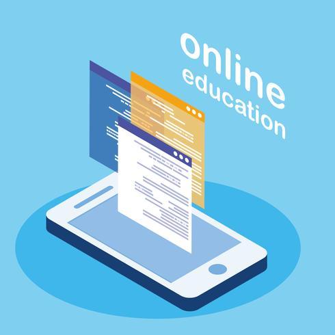 formazione online con smartphone vettore