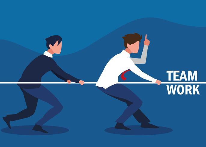 lavoro di squadra con uomini d'affari vettore