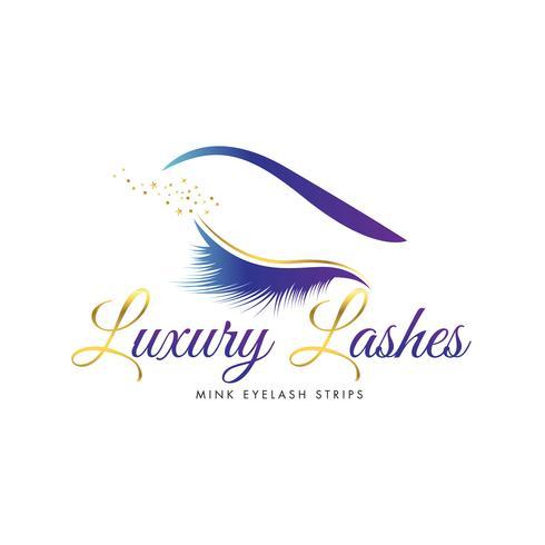 Logo di ciglia di bellezza di lusso vettore