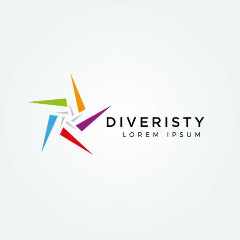 Logo di stelle colorate diversità vettore