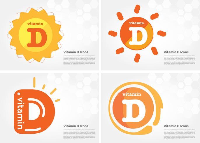 Icona di vitamina D sole splendente vettore