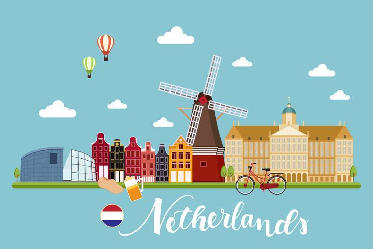 paesaggio di viaggio nei Paesi Bassi vettore