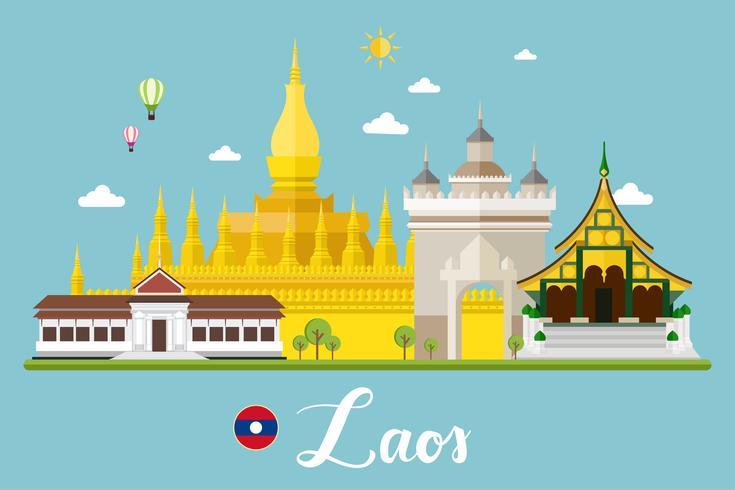 Paesaggio di viaggio del Laos vettore