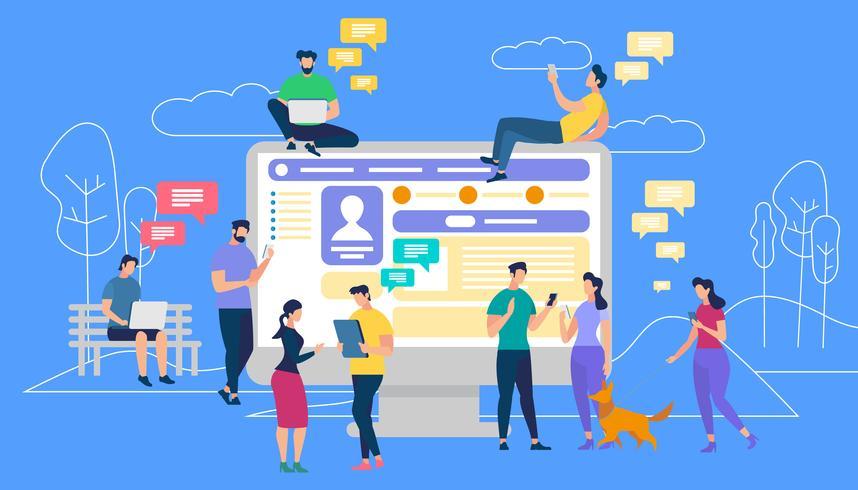 Comunicazione via Internet e social network vettore