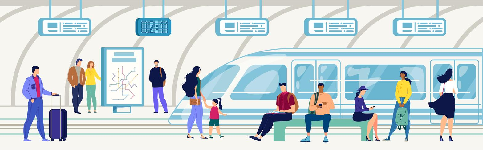 Passeggeri sulla stazione della metropolitana piatta vettore