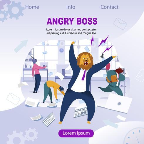 Boss arrabbiato con testa di leone vettore