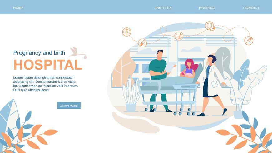 Sito Web Gravidanza e parto ospedale piatto vettore