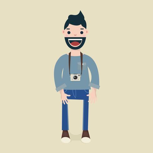 Uomini hipster con la sua macchina fotografica vettore