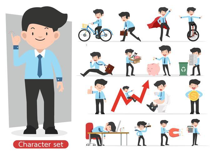 Progettazione di personaggio dei cartoni animati dell'uomo d'affari con differenti pose messe vettore