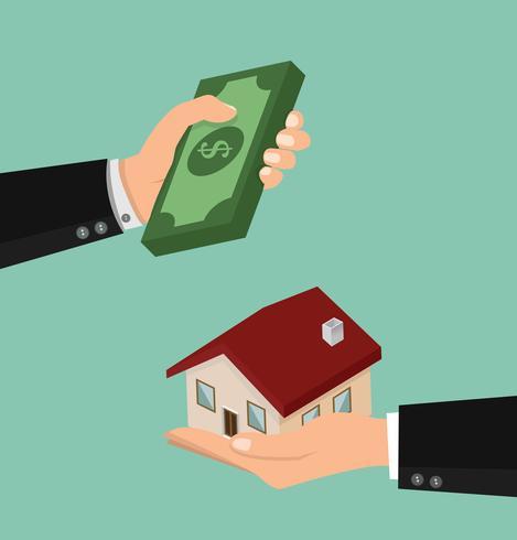Mani che tengono soldi e una casa vettore