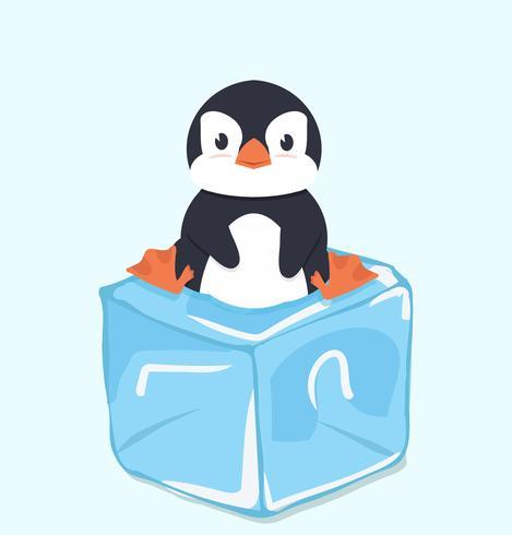 Pinguino carino sul cubo di ghiaccio vettore