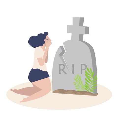 donna che piange davanti a una tomba vettore