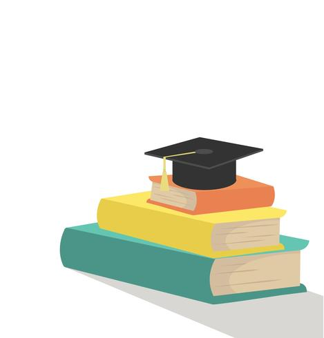 Pila di libri con cappello di laurea vettore