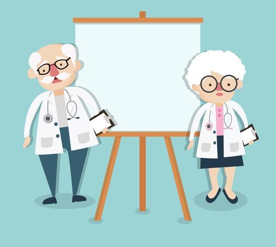 Vecchio medico su presentazione vettore