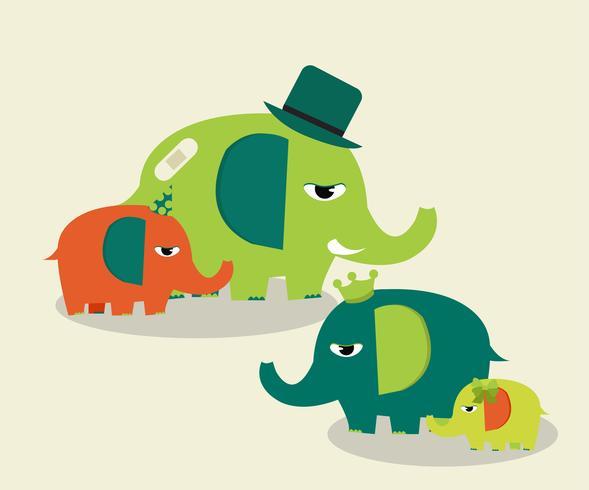 simpatici elefanti di famiglia vettore