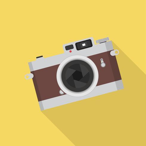 macchina fotografica d'epoca con una lunga ombra vettore
