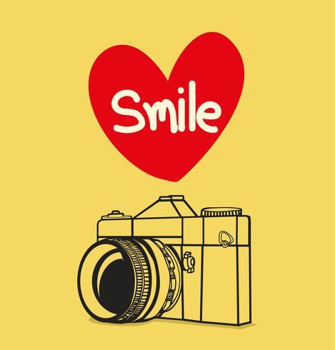 macchina fotografica retrò con sorriso vettore