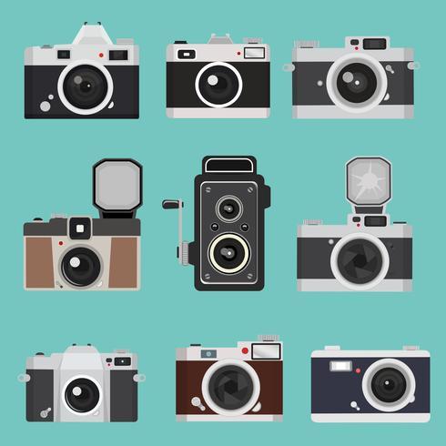Set di design piatto vintage fotocamera vettore
