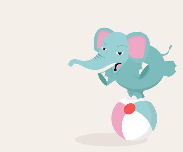 elefante sulla palla vettore