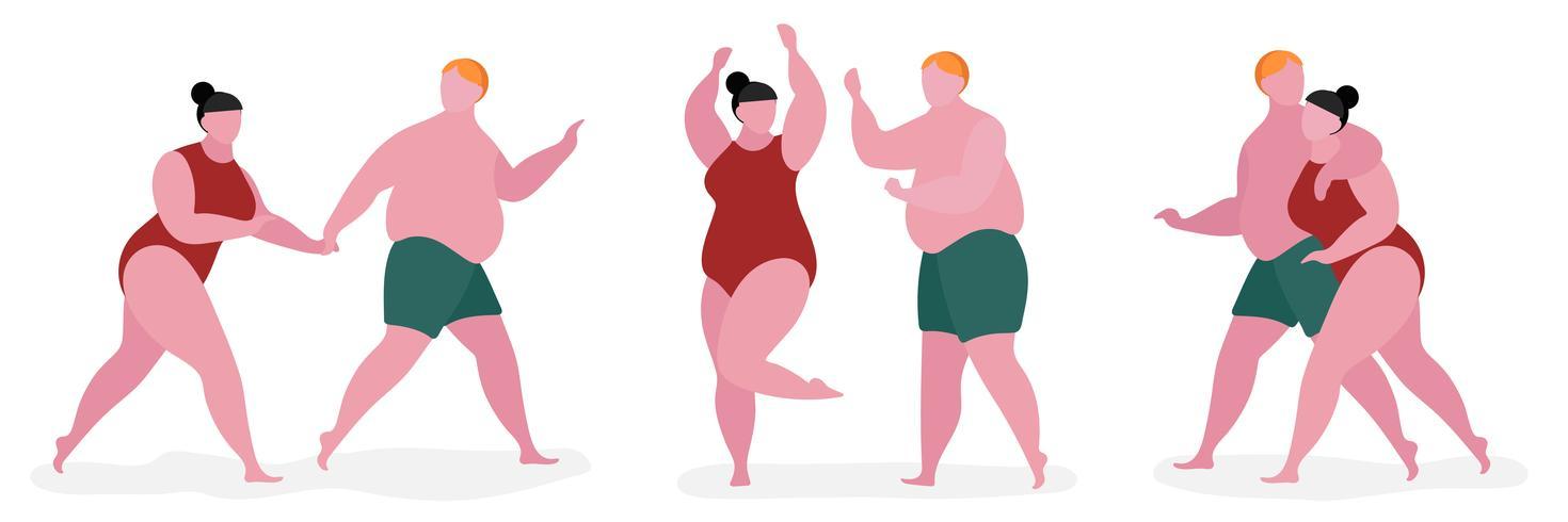 Illustrazione di carattere grasso di coppia vettore